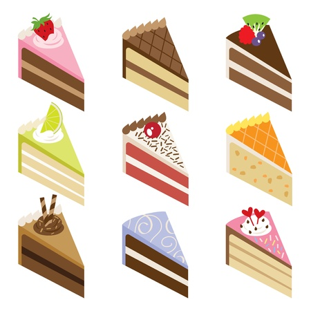 illustration of nine slices of delicious cakes