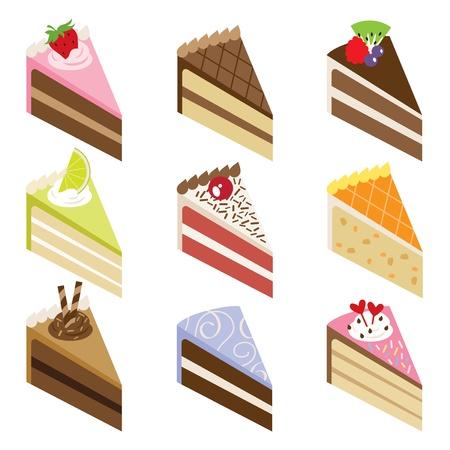Illustration von neun Scheiben von leckeren Kuchen