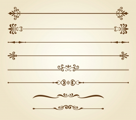 lines: illustration of decorative borders set