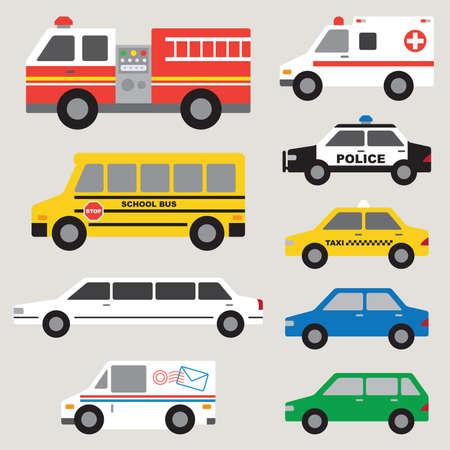 brandweer cartoon: Vector illustratie van de verschillende types van auto's