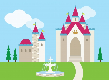 Vector illustration of a castle with a fountain on the front lawn  Vector
