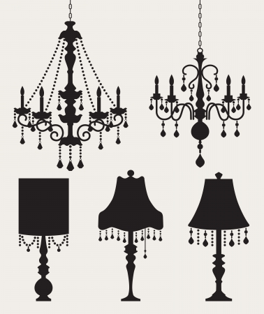 Vector illustration of chandeliers and table lamp silhouettes