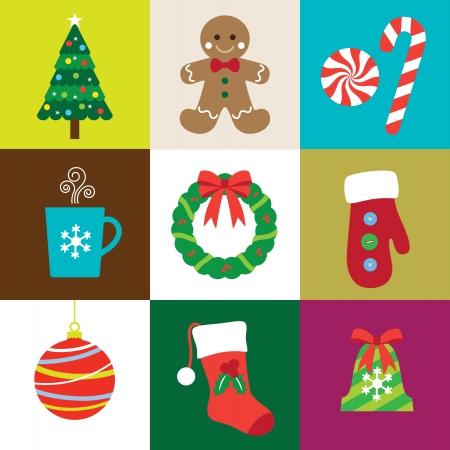 Vector illustratie van Kerstmis elementen set Stock Illustratie