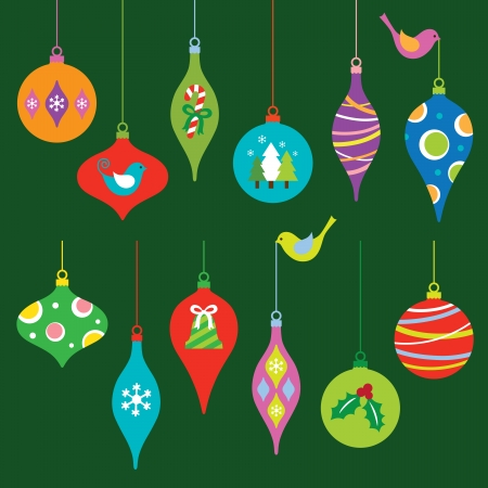 campanas de navidad: Ilustración vectorial de una colorida colección de adornos de Navidad Vectores