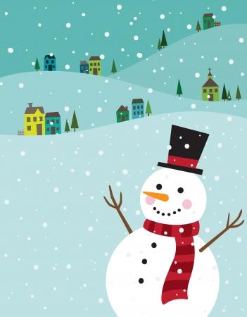 seasons: Vector illustratie van een sneeuwpop met winter achtergrond