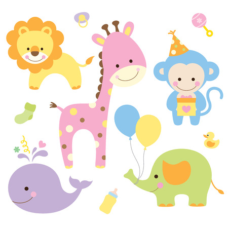 Vector illustration of animals in party theme
