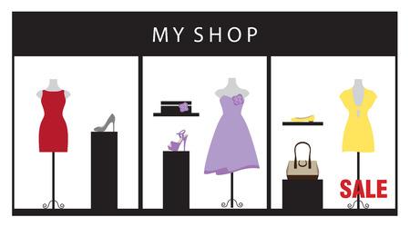 magasin vetement: Vector illustration d'un magasin de v�tements affichant de belles robes et accessoires