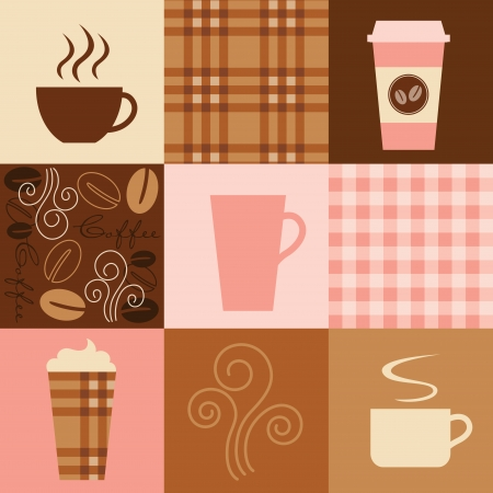 coffee: Vector illustration of coffee inspired elements  Seamless patterns  plaids and coffee beans  are included in swatch