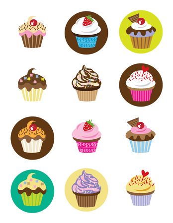 Vector illustration of 12 different cupcakes with chocolate, strawberry, vanilla and fancy toppings  Ilustrace