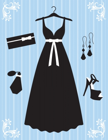 Vector illustration of woman dress and accessories  Vector