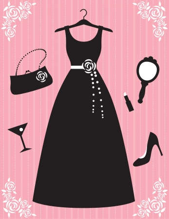 hangers: Vector illustration of woman dress and accessories