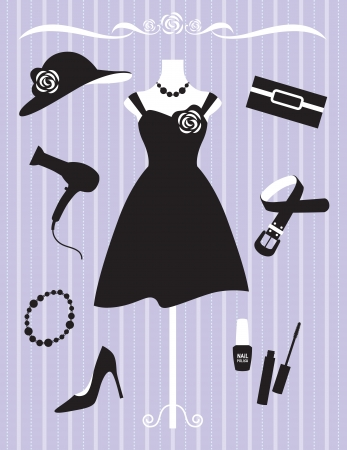 fashion dresses: Vector illustration of woman dress and accessories