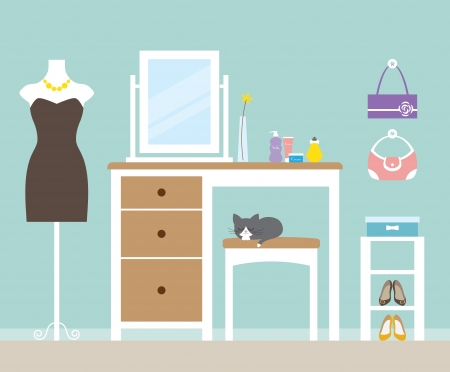 clothing rack: Vector illustration of a dressing room