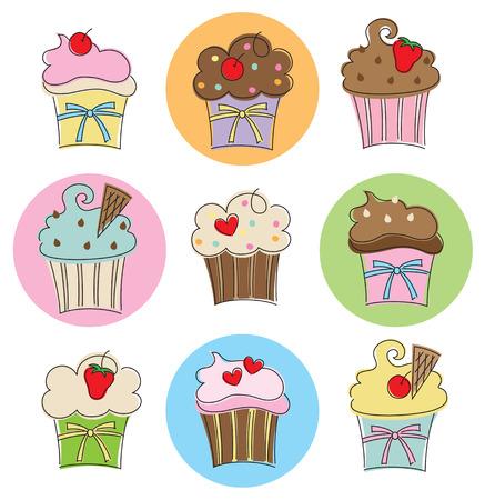 チョコレート、バニラ、ストロベリー、派手なトッピング 9 異なるカップケーキのベクトル イラスト  イラスト・ベクター素材