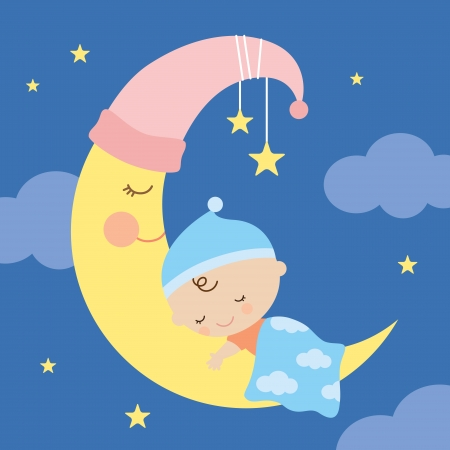 Vector illustration of a baby sleeping on the moon