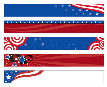 white background: Vector illustration of 5 american flag banners