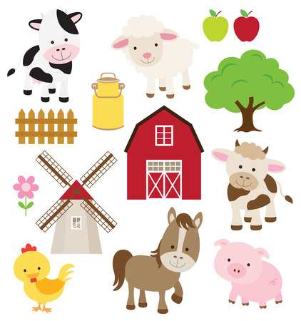 Vector illustration of farm animals and related items  Vectores