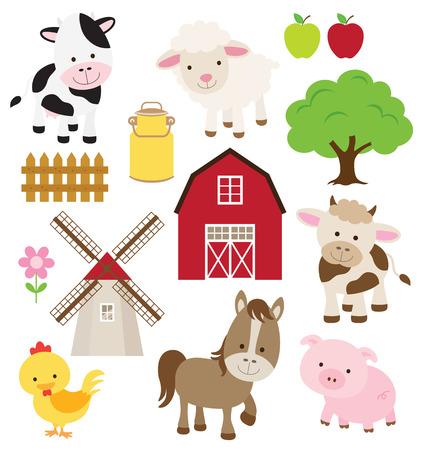 Vector illustratie van landbouwhuisdieren en aanverwante artikelen