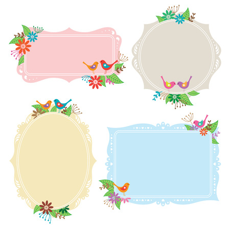 Vector illustration of frames with bird, flower, and leaf elements  Иллюстрация