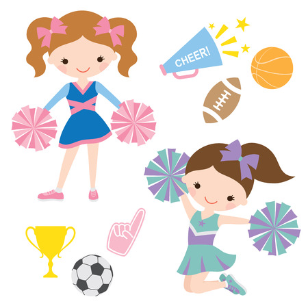 cheerleading: illustration of cheerleaders and related sport items