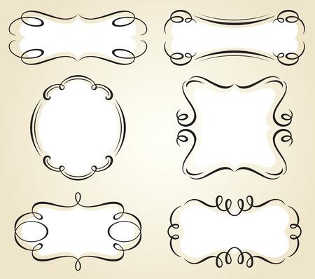 illustration of decorative frame and banner set