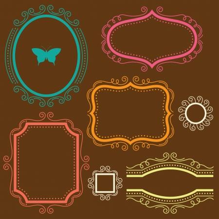 ovalo: ilustración de un conjunto de cuadros decorativos Vectores