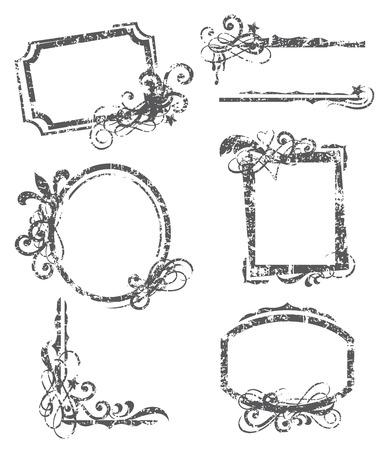 old frames: illustration of grunge frames  Illustration