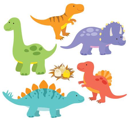 Vector illustration of dinosaurs including Stegosaurus, Brontosaurus, Velociraptor, Triceratops, Tyrannosaurus rex, Spinosaurus  Illustration