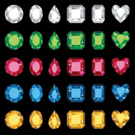 Vector illustration of colorful gemstones in six different shapes