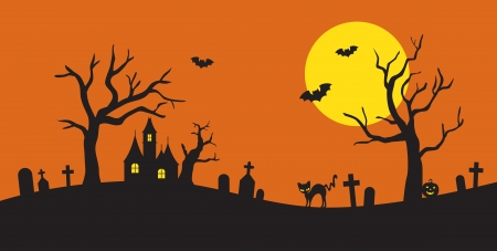 Vector illustration of Halloween silhouette background  Vector