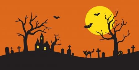 halloween background: Vector illustration of Halloween silhouette background  Illustration