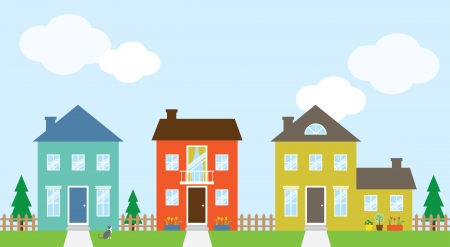residential neighborhood: Vector illustration of houses