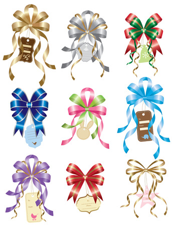 pink satin: Vector illustration of beautiful bows with gift tags Illustration