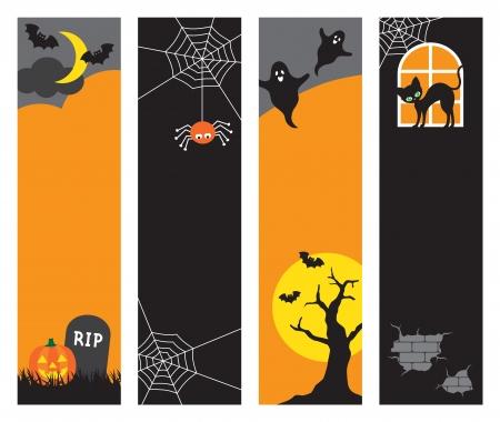 Vector illustration of Halloween banners Set  Vector
