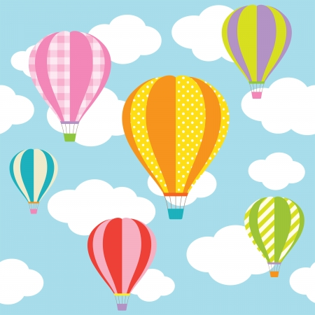 stripe pattern: Vector illustration of colorful hot air balloons on the blue sky