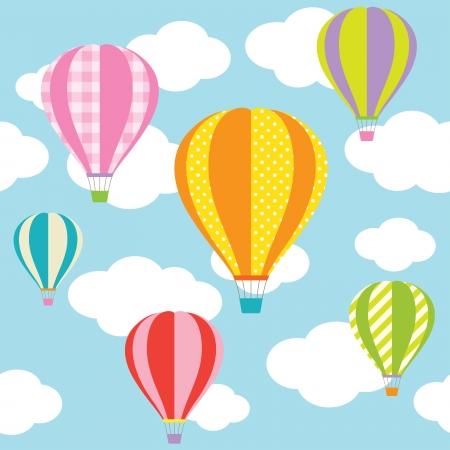 Vektor-Illustration von bunten Heißluftballons am blauen Himmel Standard-Bild - 25436260