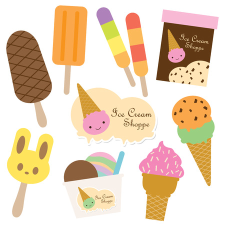 Vector illustration of ice cream set