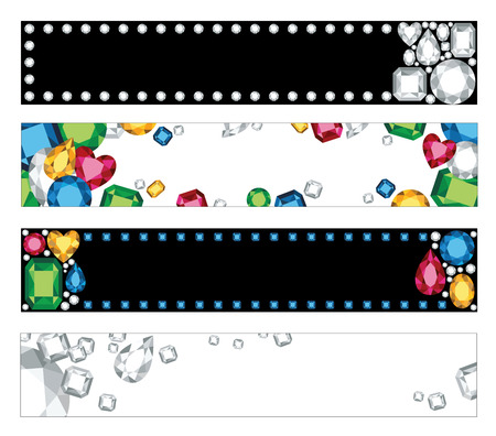 sapphire gemstone: Vector illustration of four banners or headers with colorful jewels