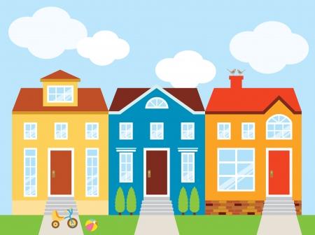 Vector illustration of colorful houses with front yard  Ilustração