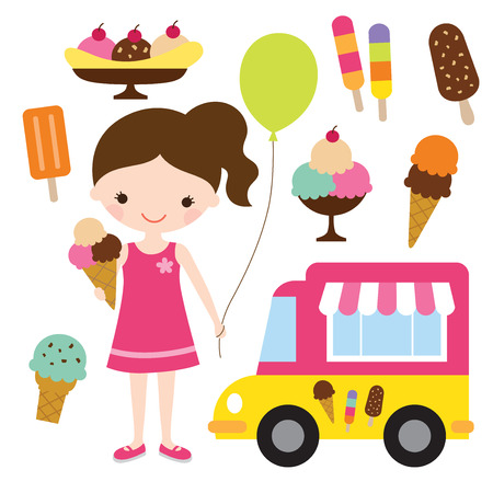 Vector illustration of a girl holding an ice cream  Vettoriali
