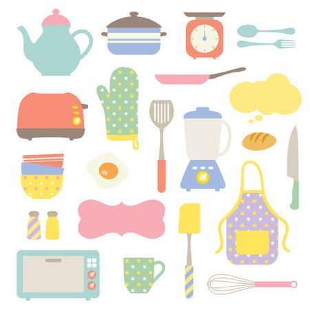 pot holder: Vector illustration of Kitchen stuff set  Illustration