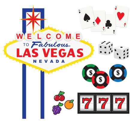 Vector illustration of Welcome to Fabulous Las Vegas sign and gambling elements including cards, dices, chips, and slot machine  Çizim