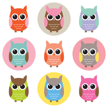 color swatch: Vector illustration of colorful owls with nine color combinations  Seamless patterns with black and white background are included in the swatch