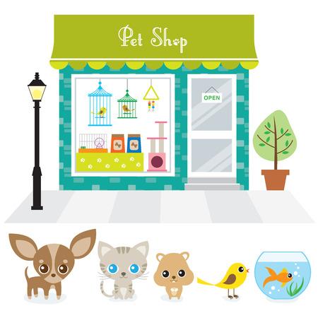 개, 고양이, 햄스터, 새, 그리고 황금 물고기와 애완 동물 가게의 벡터 일러스트 레이 션