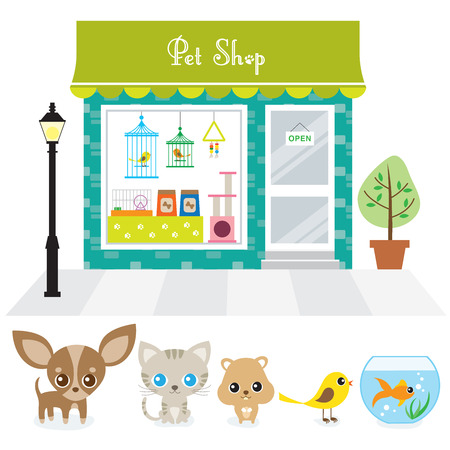 Vector illustration of a pet store with dog, cat, hamster, bird, and gold fish  Vectores