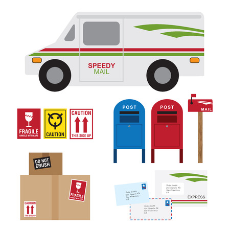 Vector illustration of postal service items including postal car, post box, mail box, shipping boxes and letters