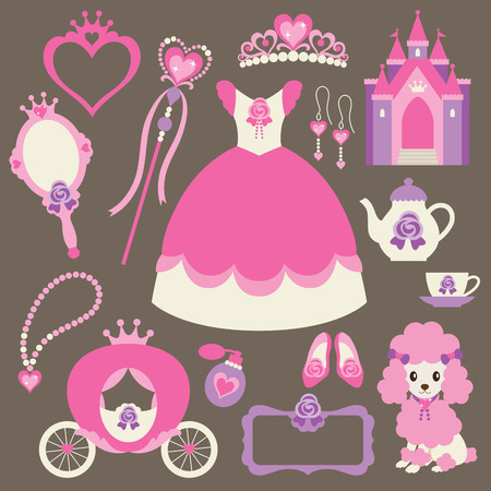 corona reina: Ilustración vectorial de elementos de diseño de la princesa