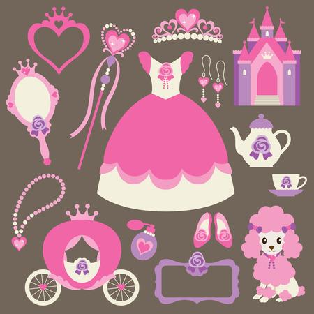 poodle: Vector illustration of princess design elements