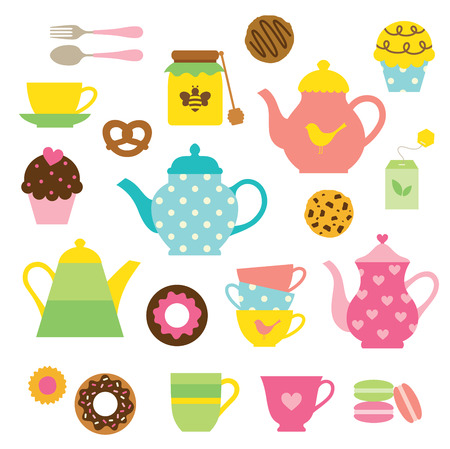 illustration of tea party set  Vector
