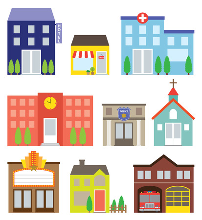 building fire: illustration of buildings including store, hotel, hospital, school, police station, church, movie theater, house and fire station